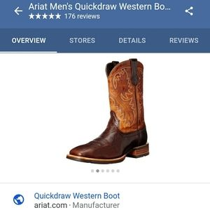 Ariat 10.5EE Quickdraw Square Toe Western Boot